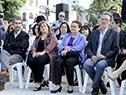 Pablo Caggiani, Iruppé Buzzetti, Edith MOraes y Héctor Florit en el 174.° aniversario del nacimiento de José Pedro Varela