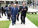 Llegada del presidente Vázquez al pabellón Ternium Siderar del Museo de Arquitectura y Diseño de Buenos Aires
