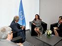 Presidente Tabaré Vázquez junto a embajadora María Fernanda Espinosa