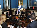 Canciller de Uruguay, Rodolfo Nin Novoa, con vice primer ministro de China, Hu Chunhua
