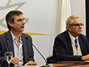 Director de OPP, Álvaro García, junto al ministro Enzo Benech