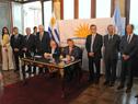 Canciller Rodolfo Nin Novoa y ministro de Relaciones Exteriores y Culto de Argentina, Jorge Fauire, durante la conferencia de prensa