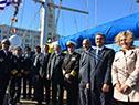 José Bayardi y Rodolfo Nin Novoa presencian la partida del viaje de instrucción XXXI del Capitán Miranda