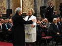 La ministra de Educación, María Julia Muñoz, fue encargada de la oratoria, citando palabras del profesor José Barrán