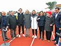 Corte de cinta inaugural, acompañados por los atletas medallistas, Emiliano Lasa y Pía Fernández