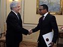 Tabaré Vázquez recibe carta credencial por parte del embajador de Trinidad y Tobago, Amery Browne