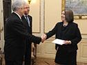 Tabaré Vázquez recibe carta credencial por parte de la embajadora de Finlandia, Kirsi Vanamo-Santacruz