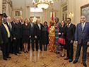 Presidente Tabaré Vázquez en brindis con los embajdaores presentes
