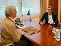 Tabaré Vázquez y Javier Miranda reunidos en la oficina presidencial de Suarez y Reyes
