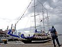 """Llegada del """"Capitán Miranda"""" al puerto de Montevideo"""
