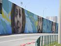 """Inauguración del mural """"Uruguay al mundo"""", ubicado en el viaducto frente al ingreso al aeropuerto de Carrasco"""