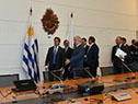 El presidente Tabaré Vázquez, Luis Lacalle Pou y parte de su delegación