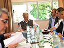 Tabaré Vázquez y autoridades del gobierno, reunidos con el grupo de alcaldes de la cuenca del río Santa Lucía