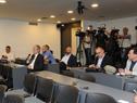 Periodistas asistentes a la conferencia