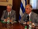 Ministro de Salud Pública, Jorge Basso junto al presidente, Tabaré Vázquez