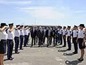Llegada de las autoridades del Ministerio del Interior al aeropuerto internacional Cesáreo Berisso