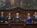 Senador José Mujica le toma juramento a Luis Lacalle Pou como presidente de la República y a Beatriz Argimón como vicepresidenta