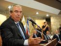 Ministro de Transporte y Obras Públicas, Luis Alberto Heber se dirige a los presentes