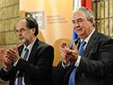 Luis Alberto Heber junto a las nuevas autoridades del Ministerio de Transporte y Obras Públicas