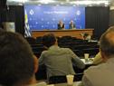 Secretario nacional del Deporte, Sebastián Bauzá, y Gerardo Lorente, gerente nacional del Deporte, en conferencia de prensa
