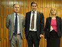 Director saliente, Washington Ribeiro, presidente del BCU, Diego Labat y la secretaria general, Lucila Rinaldi