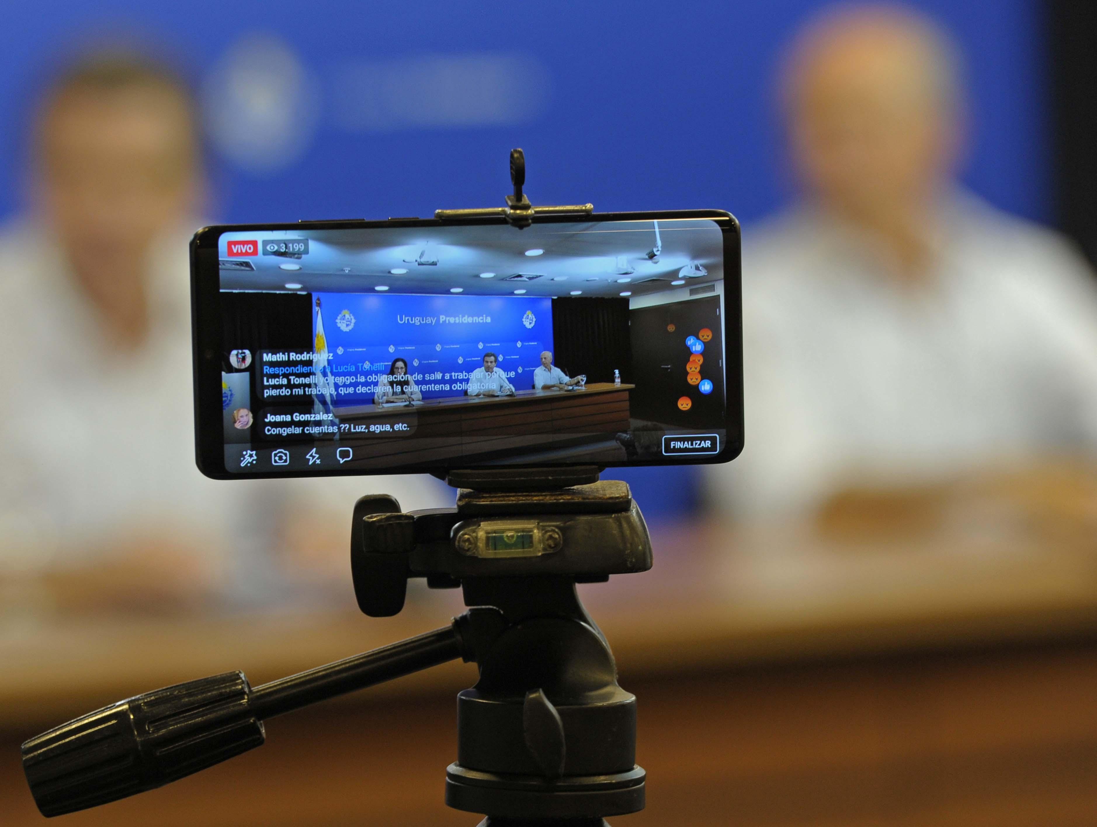 Conferencia de prensa de directora de Protocolo de la Cancillería, Flavia Pisani, canciller Ernesto Talvi y ministro de Defensa, Javier García