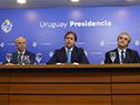 Presidente Luis Lacalle Pou encabezó conferencia de prensa junto a ministros Javier García, Jorge Larrañaga, Ernesto Talvi y Daniel Salinas