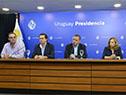Ministro Pablo Bartol, subsecretario y secretario de Presidencia, Rodrigo Ferrés y Álvaro Delgado, y directora de Inmujeres, Mónica Botero