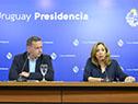 Secretario de Presidencia, Álvaro Delgado, junto a directora de Inmujeres, Mónica Botero