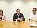 Presidenta del Congreso de Intendentes e intendenta de Lavalleja, Adriana Peña, secretario de Presidencia, Álvaro Delgado, y ministro Pablo Bartol