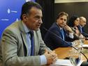 Ministro de Salud Pública, Eduardo Salinas, presidente Luis Lacalle Pou, ministra de Economía, Azucena Arbeleche, y ministro de Trabajo, Pablo Mieres