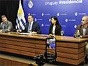 Daniel Salinas, Álvaro Delgado, Cecilia López y Gustavo Grecco, en conferencia de prensa