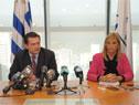 Vicepresidenta Beatriz Argimón, y prosecretario, Rodrigo Ferrés, en conferencia de prensa en Torre Ejecutiva