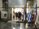 Vicepresidenta de la República, Beatriz Argimón, llega a la Biblioteca Nacional