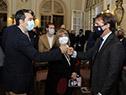 Presidente, Luis Lacalle Pou, llega al Museo de Artes Decorativas, ubicado en el Palacio Taranco