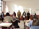 Presidente del Codicen, Robert Silva, y autoridades de ANEP visitaron el liceo n.° 3, Dámaso Antonio Larrañaga