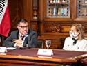 Beatriz Argimón y Pablo da Silveira encabezan lanzamiento de homenajes en la biblioteca del Palacio Legislativo