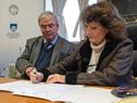 Ministro de Transporte y Obras Públicas, Luis Alberto Heber, y Graciela Ubach, directora del Hospital de Clínicas