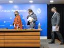 Autoridades previo al inicio de la conferencia de prensa