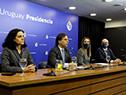 Azucena Arbeleche, Luis Lacalle Pou, Carolina Ache y Diego Escuder en conferencia de prensa
