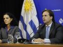 Presidente de la República, Luis Lacalle Pou, junto a la ministra de Economía, Azucena Arbeleche