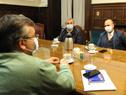 Reunión de autoridades encabezada por el ministro del Interior, Jorge Larrañaga, y el director de la Secretaría Nacional del Deporte, Sebastián Bauzá