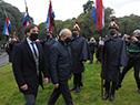Presidente, Luis Lacalle Pou, es recibido por el ministro de Defensa, Javier García