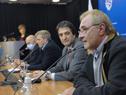 Presidente de la Federación Uruguaya de Basketball, Ricardo Vairo, dirigiéndose a los presentes