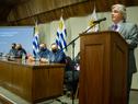Canciller, Francisco Bustillo, haciendo uso de la palabra en el lanzamiento de Procarnes, realizado en la sede del Ministerio de Relaciones Exteriores