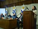 Ministra de Economía y Finanzas, Azucena Arbeleche, durante el lanzamiento de Procarnes, realizado en la sede del Ministerio de Relaciones Exteriores