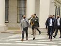 Llegada del presidente Lacalle Pou al acto de reapertura del Mausoleo al General José Artigas