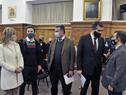 Autoridades de Salud Pública previo al inicio de la conferencia de prensa