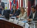 Lorena Ponce de León, haciendo uso de la palabra en el Congreso de Intendentes, durante la presentación del proyecto Reciclá tu Campaña