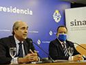 Presidente del INAU, Pablo Abdala junto al director del Sinae, Sergio Rico